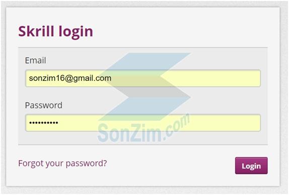 đăng nhập vào Skrill