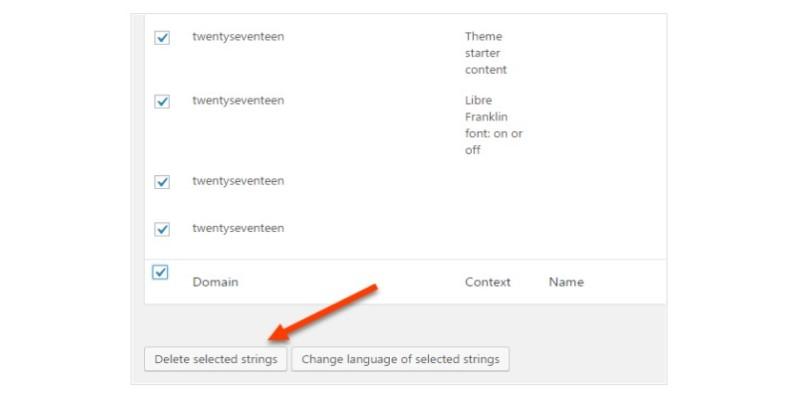 Xóa một chuỗi trong giỏ dịch WPML