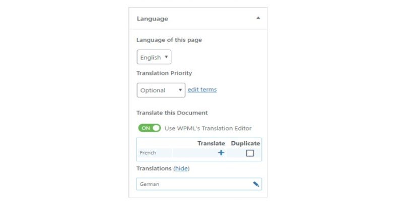 wpml language box when editting a page
